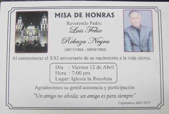 Invitación Misa Honras Imagui